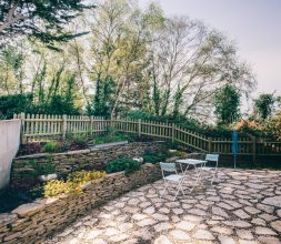 The Houseboat Poole Hamworthy Dorset Exterior Side Terrace Garden Award Winning Holiday Property