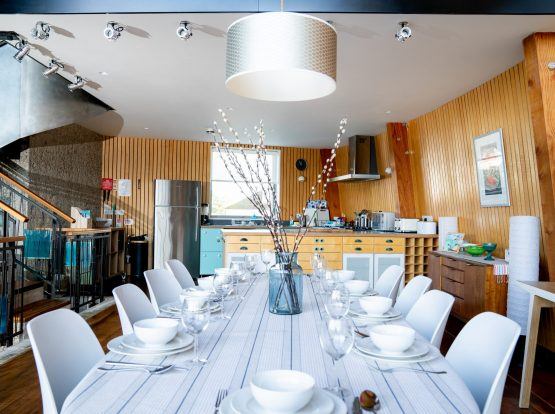 The Houseboat Poole Poole Hamworthy Dorset Dining Area and Kitchen Open Plan Living Holiday Property